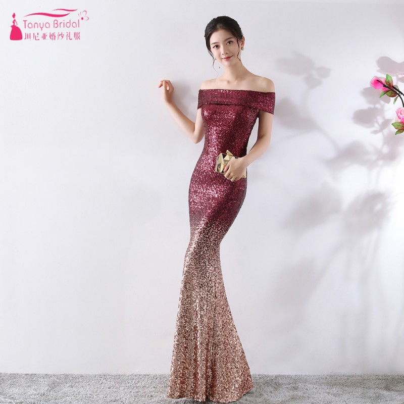 Mermaid Off-the-shoulder   Bridesmaid     Dresses   Conttrast Color Outstanding Maid Of Honor Sequined   Dresses   Formal Wear ZB045