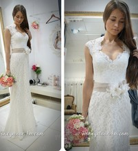 Free Shipping Popular Top Quality Mermaid V Neck Sleeveless Sweep Train Spanish Lace Wedding Dress Bridal Gown With Sash MF385