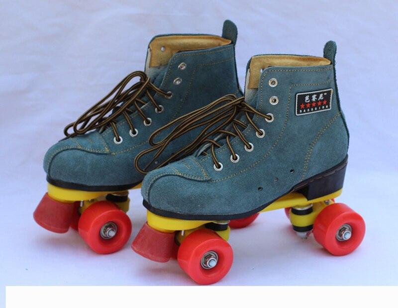 ユニセックス二重線大人女性男性屋内クワッドパラレル牛革牛革スケート靴ブーツ 4 ホイール PU ブレーキの摩耗耐  グループ上の スポーツ & エンターテイメント からの スケートシューズ の中 1