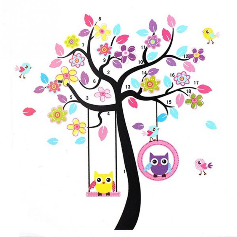 Moda Linda Corujas No Balanço Colorido árvore Dos Desenhos Animados