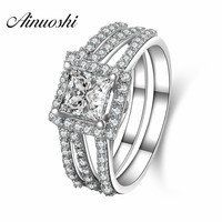 AINUOSHI 1 Carat Simulated Princess Cut Silver Ring 925 Sterling Silver Luxury Engagement Wedding Bridal Ring