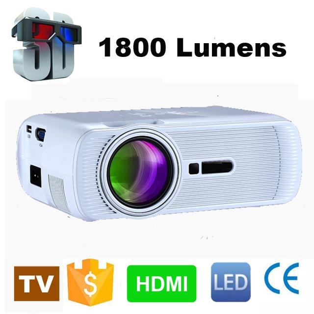 WZATCO 800*480 Portable Mini HD LED TV Projector 1800Lumens 3D Moive Multimedia Home video Projectors Beamer Factory Direct Sale