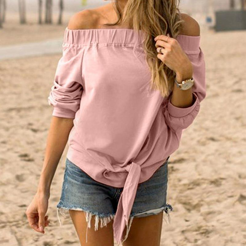 Fashion European Women Off Shoulder Cotton T-shirt Casual Solid Color Tunic Long Sleeve Slash Neck Tops