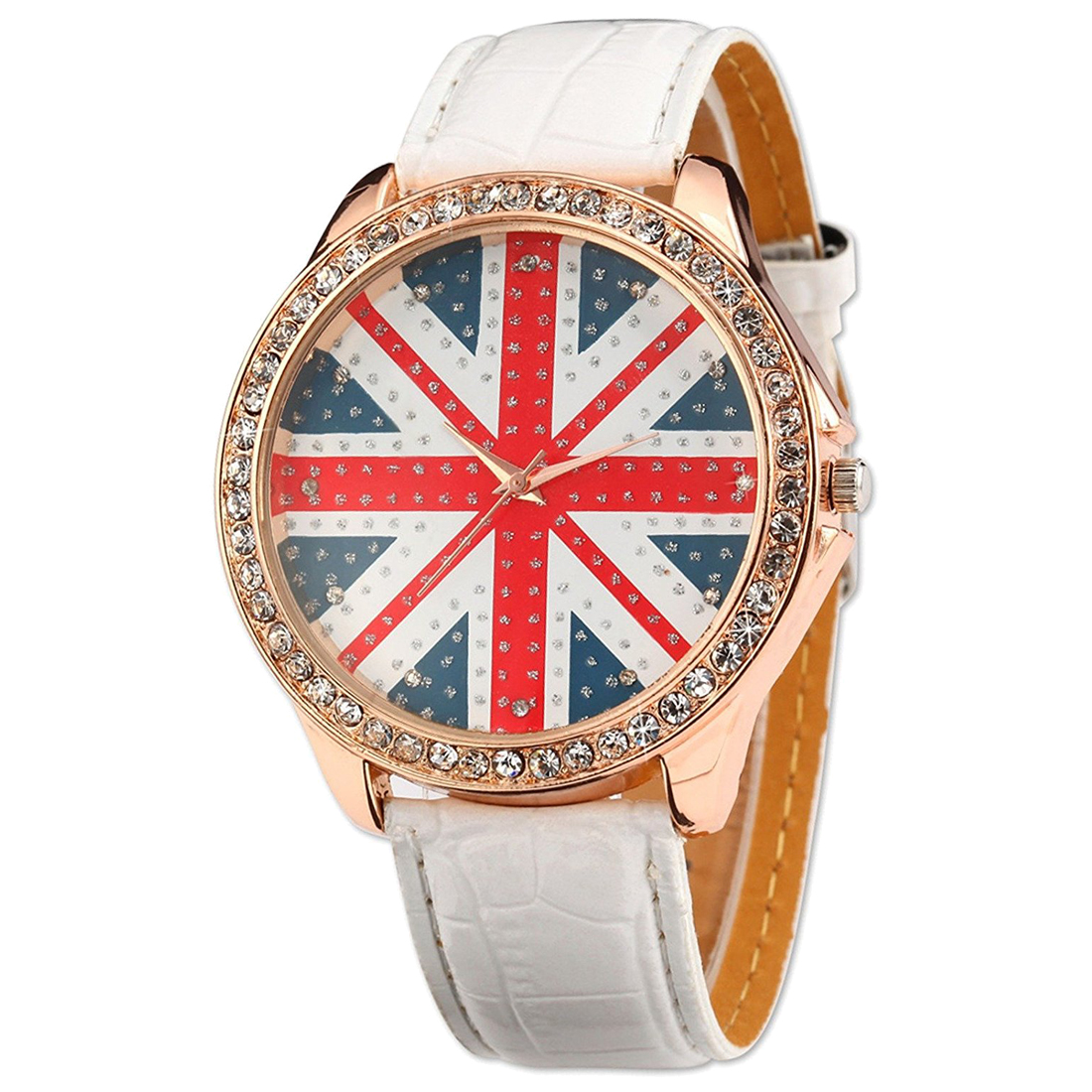 Women Lady Girl Union Jack Uk British Flag White Leather Quartz Watch WAA211