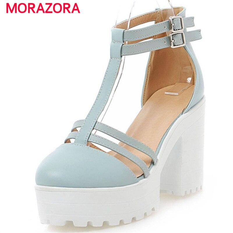 9acd492c5 MORAZORA 34-46 sapatas do verão fivela Grande tamanho sólida moda sapatos  de salto alto