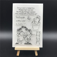 Rabbit Transparent Clear Silicone Stamps for DIY Scrapbooking/Card Making/Kids Christmas Fun Decoration Supplies  A797