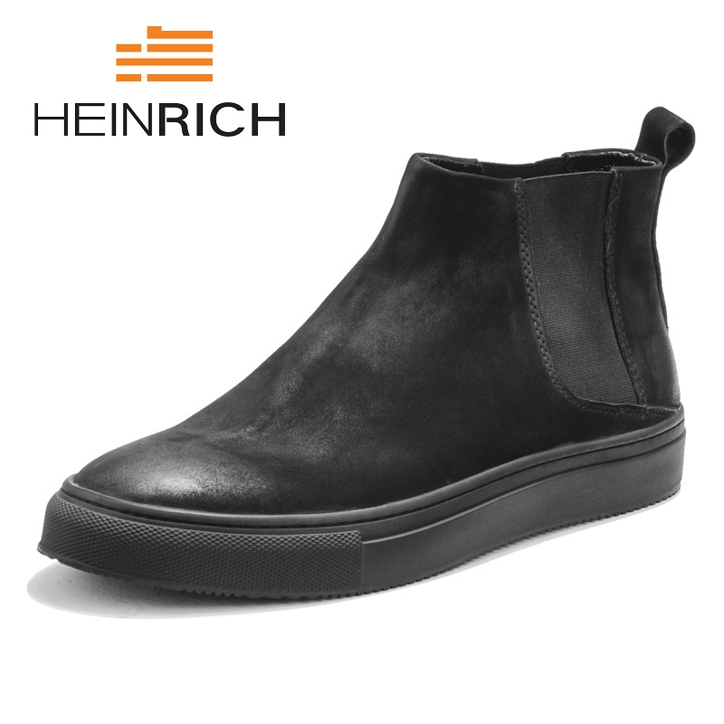 Zip Botas A Ocasional Zapatos Calidad Punta Obuwie Nueva Genuino Mano Cuero Heinrich Marca Hombres Black Hecho Redonda De Invierno Calientes 6zTwI7