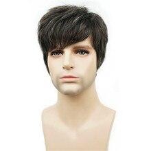 Strongbeauty men peruca curta reta natural perucas completas sintéticas