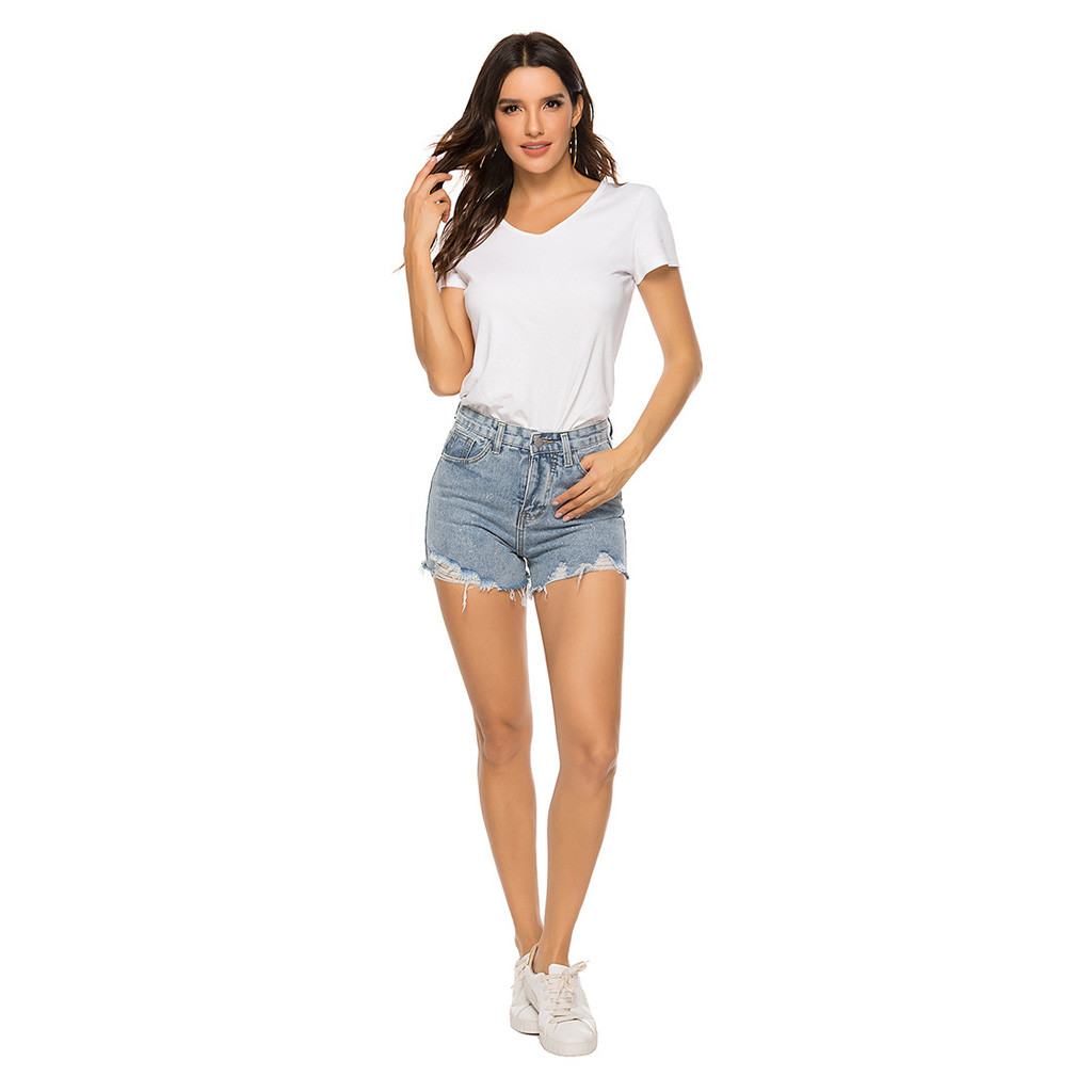2020 Fashion Hot New women's summer casual mid-rise hole short jeans denim female pocket wash denim shorts шорты женские 40*