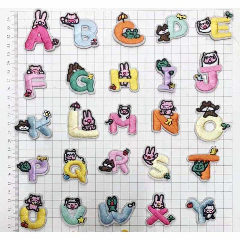 YITUN 10 個手紙漫画文字パターン鉄にフレッツ刺繍パッチ布アクセサリーバッグジャケットアップリケ