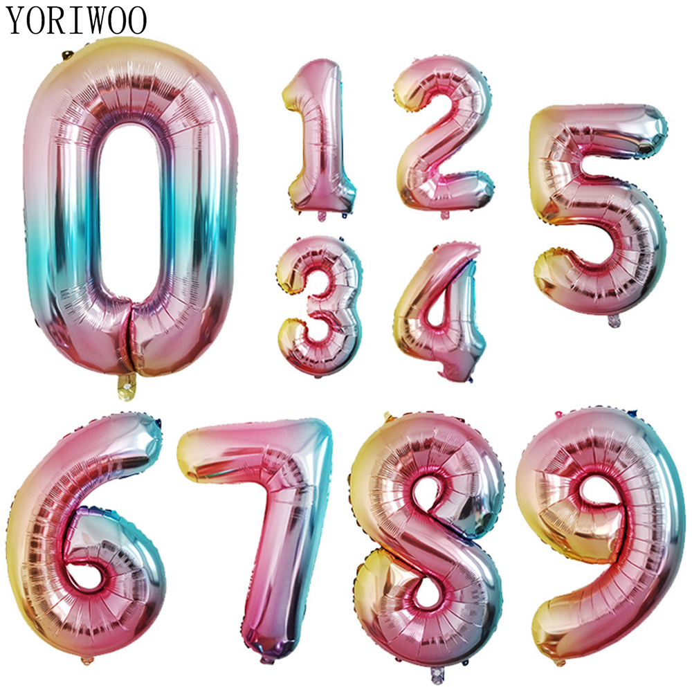 YORIWOO Number Foil Balloons Rainbow Large Digit Helium Balloon Wedding Supplies Birthday Party Decorations Kids Baby Shower Boy