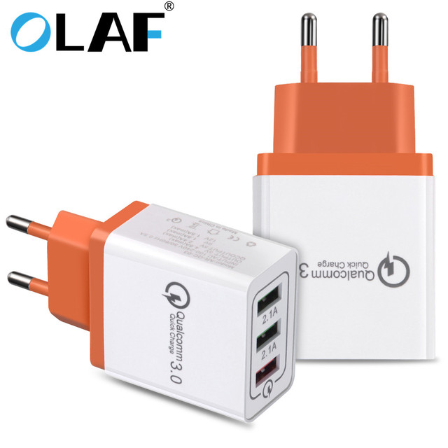 newest 15ac5 c1cdf US $3.49 20% OFF|Olaf USB Charger Charger Quick Charge 3.0 For iphone X 8 7  Fast Charger 3 Ports USB Travel Wall Charging Adapter For Samsung S9-in ...