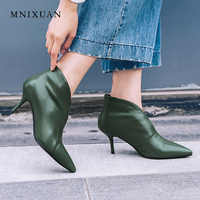 MNIXUAN brand shoes women ankle boots genuine leather 2018 autumn sexy pointed toe V neckline rome thin high heels black green