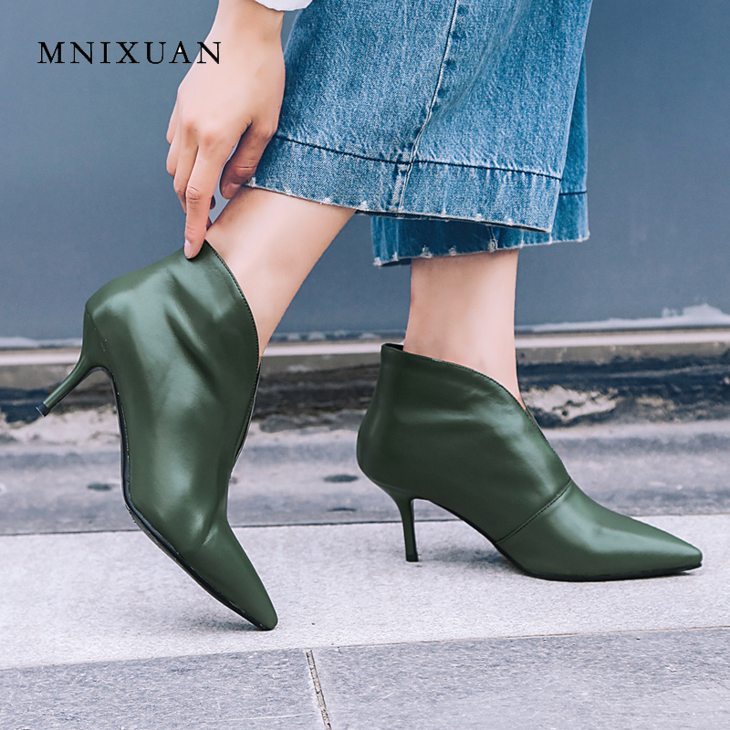 цена на MNIXUAN brand shoes women ankle boots genuine leather 2018 autumn sexy pointed toe V-neckline rome thin high heels black green