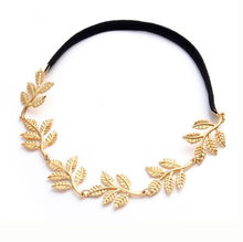 2018 New Fashion Tiara Metal Gold Chain Flower Leaf Hairband For Wedding Bridal Hair Accessory Women Forehead Jewelry gift(China)