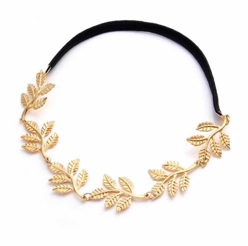 2018 nueva moda Tiara Metal oro cadena flor hoja Hairband Para Boda nupcial pelo accesorio mujeres frente joyería regalo