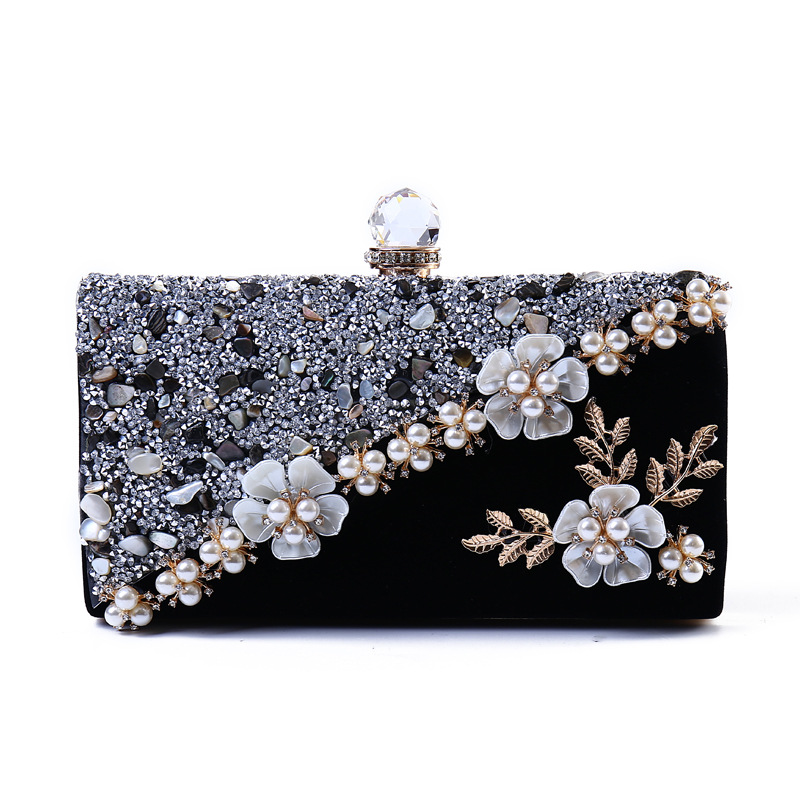 Vintage Velvet Women Evening Bag 2018 Fashion Crystal Female Bridal Wedding Handbag Flower Wome Evening Bag Clutches Bolsas