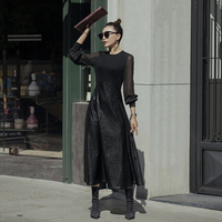 VERRAGEE women 2018 new vintage PU leather lace solid color black sexy club patchwork long maxi dress