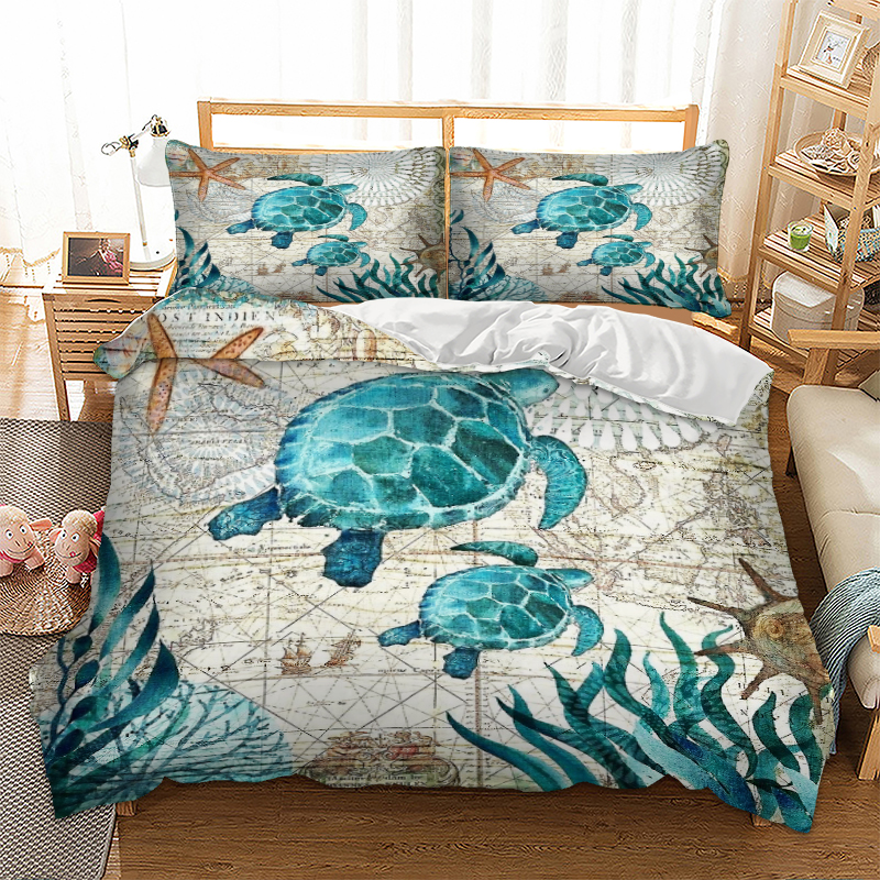 Marine Sea Bay Turtle Bedding Duvet Cover Octopus Dolphin Whale Bedding Set Single Twin Full Queen King Size Polyester Bed Linen