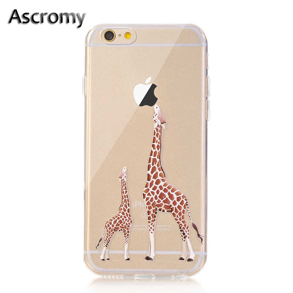 Ascromy For iPhone X Case Eating Giraffe Cartoon TPU Soft Ultra Thin Cute Back Cover For iPhone 8 Plus 7 6 6S 5 5S SE Phone Case