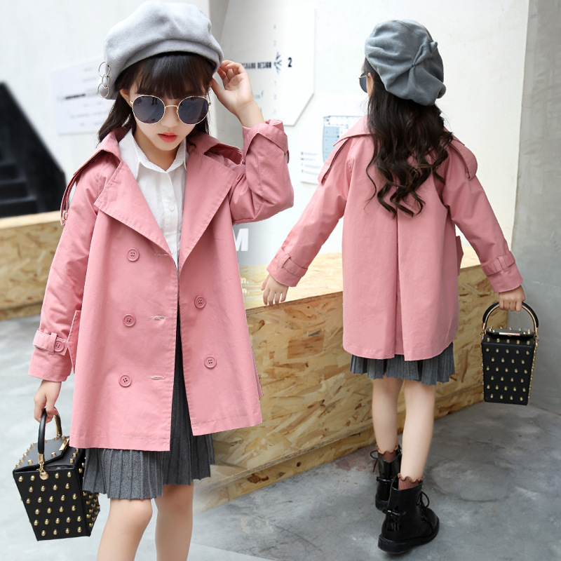British Style Girls Cotton Coat Pink Casual Kids Trench Coat Double Breasted Jacket Spring Autumn Outerwear 3-12Years Casaco