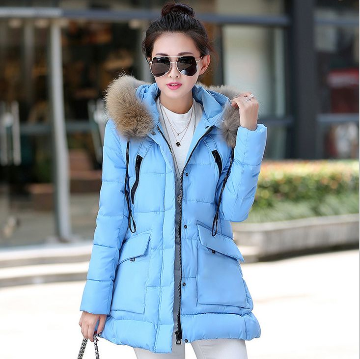 winter jacket women slim real fur collar thickening coat hooded medium-long duck down parka plus size outwear casual overcoat