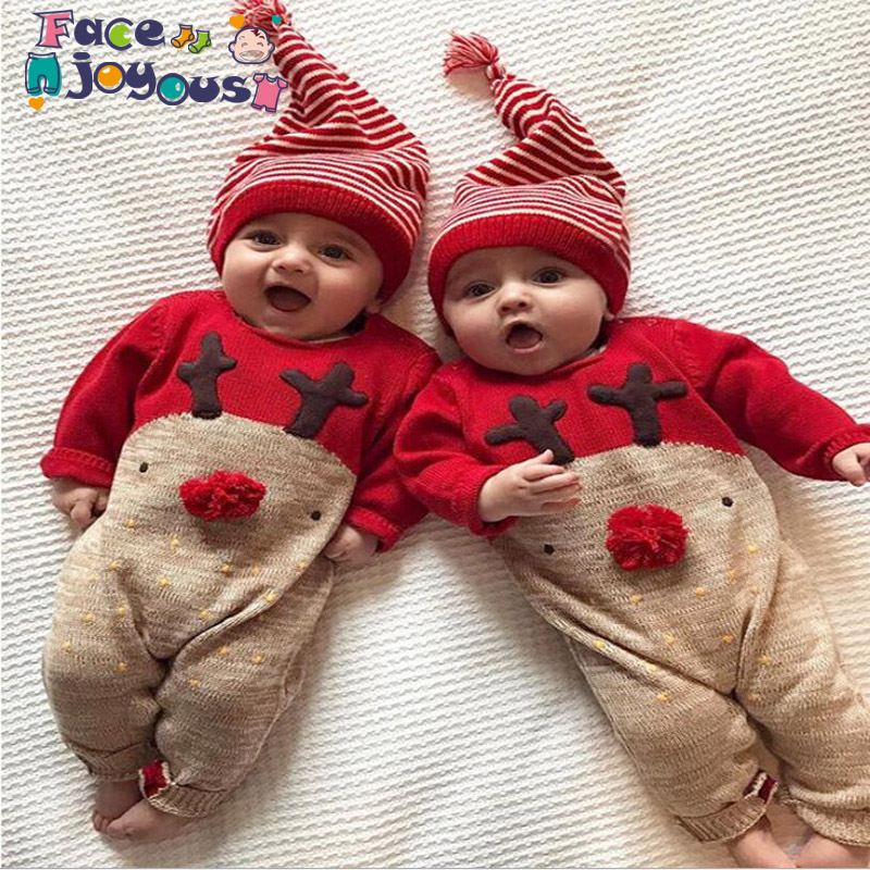 Christmas Elk Baby Costume New Year Newborns Jumpsuits Cotton Casual Baby Girls Clothes Fall Winter Infant Boys   Romper   + Hat
