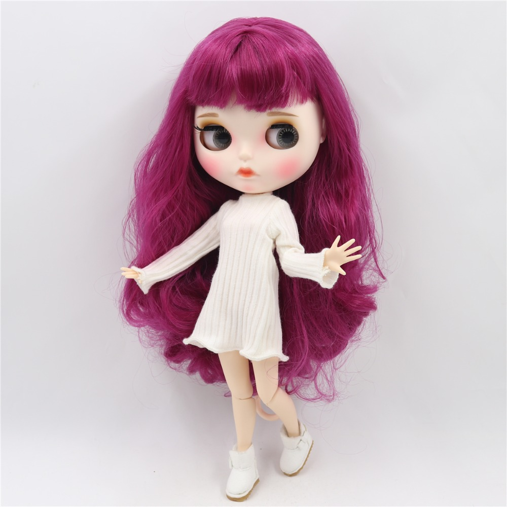 Blythe Nude Doll from Factory Matte Face Jointed Body Black Skin Purple Hair