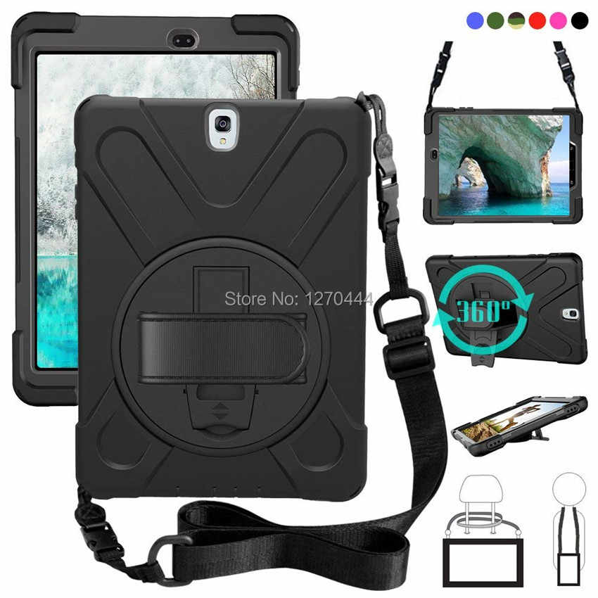For Samsung Galaxy Tab S3 9.7 SM-T820 T820 T825 T829 PC+Silicone hard Cover w/360 Swivel Stand holder, Hand Strap & Neck Strap