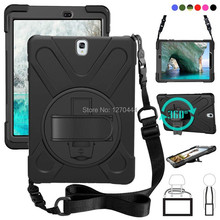 For Samsung Galaxy Tab S3 9.7 SM T820 T820 T825 T829 PC+Silicone hard Cover w/360 Swivel Stand holder, Hand Strap & Neck Strap