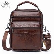 men genuine leather shoulder bag handbag Zipper Men