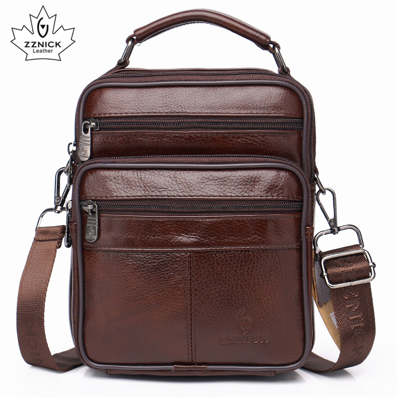 Men Genuine Leather Shoulder Bag  Handbag Zipper Men Bags Leather  2019 Fashion Handbag 100% Genuine Leather ZZNICK