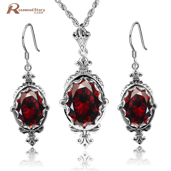 Elegant Handmade Charm Red Stone Crystal Oval Stone 925 Sterling Silver Wedding Party Jewelry Sets Ethiopian Jewelry For Women