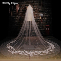 Real Picture 7 Meters Length Custom Made White Ivory Wedding Veil With Lace Bridal Wedding Accessories