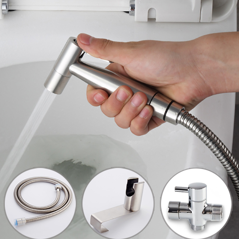 handheld toilet bidet sprayer set kit stainless steel hand bidet faucet for bathroom hand. Black Bedroom Furniture Sets. Home Design Ideas