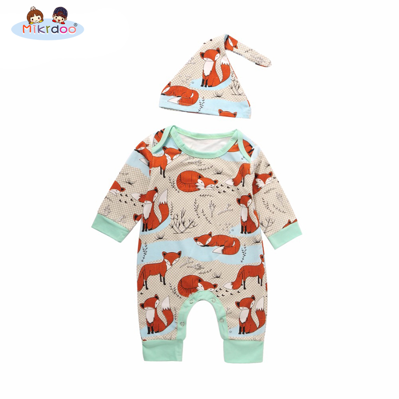 Newborn Baby Summer Boy Girl Clothes 2PCS Newborn Children Cotton Short Sleeve Fox Romper +Hat 2PCS Outfit Casual Top Sunsuit 3pcs set newborn infant baby boy girl clothes 2017 summer short sleeve leopard floral romper bodysuit headband shoes outfits