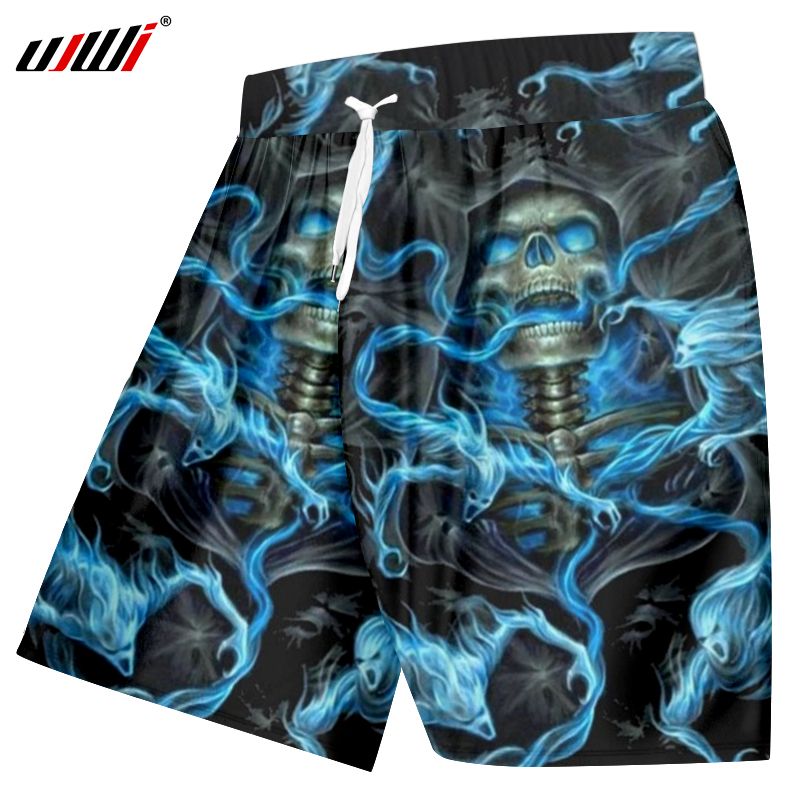 UJWI 3D Shorts Men Cool Print Blue Smoking Skull Boardshorts Man Bodybuilding Fitness Trousers Homme Elastic Waist Beach Shorts