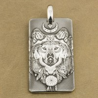 Laser Engraved 999 Sterling Silver Indian Wolf DogTag Biker Pendant 9X031SA JP