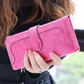 AEQUEEN Nubuck Leather Wallet Women Purses Matte Coin Purse Lady Clutches Solid Long Purse Card Holders Money Pouch Wallets Girl
