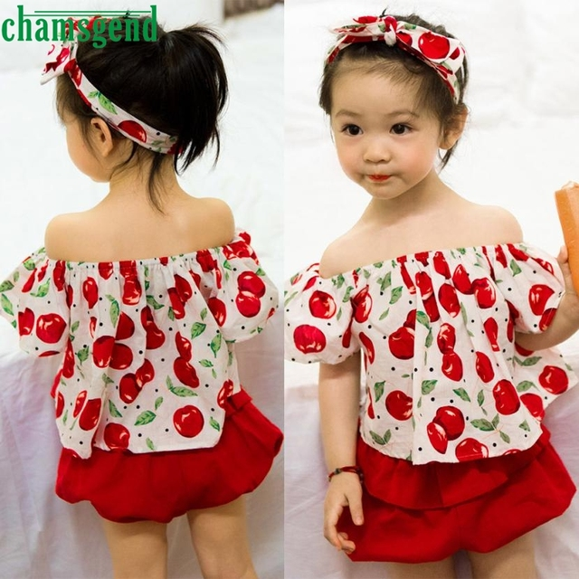 12b35641ae CHAMSGEND Toddler Kids Baby Girl Clothes cherry fly sleeves Off Shoulder  Print Tops+red Pants hair with three sets jul26 P30