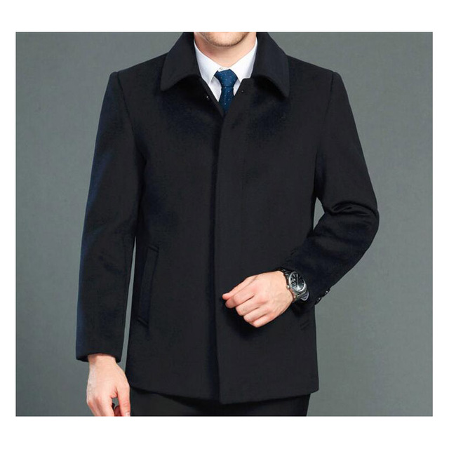 High quality cashmere coat men new style winter wool overcoat male turn down collar single breasted woolen outerwear 2 styles 5