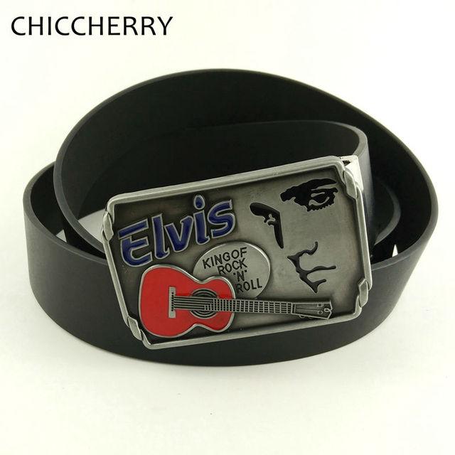 Nueva Moda Fivelas Cowboy Elvis Presley Rock N Roll Hebilla del Cinturón Metal Punk Negro Marrón Cuero de LA PU Cinturones Masculinos Para Hombre Pantalones