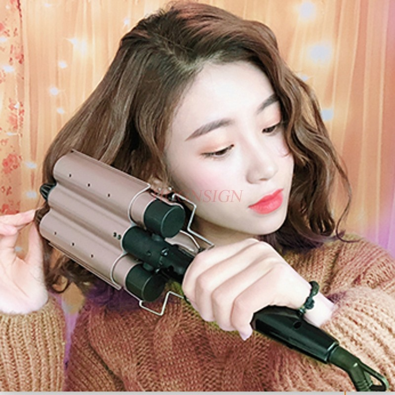Roll head three big waves do not hurt hair water ripple hair curler big volume artifact splint scalding hot hair straightener electric roll curlers straight coil dual use splint buckle bangs essential oils do not hurt hair