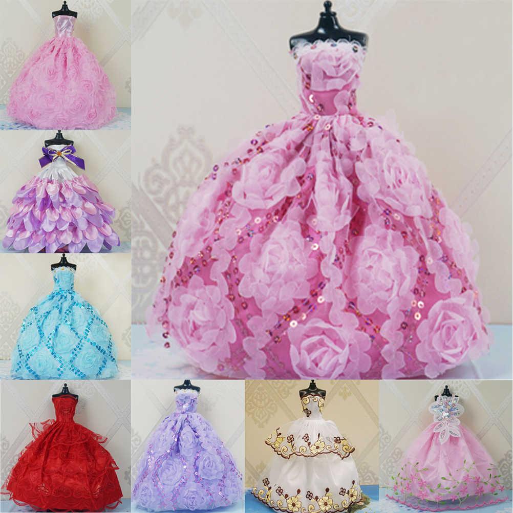 1 pçs elegante senhora moda vestido de casamento vestido de festa princesa bonito roupa para meninas boneca presente 8 cores escolher