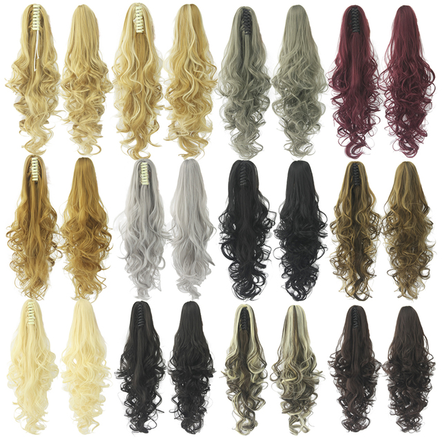 Soowee 24inch Long Gray Blonde Wavy Clip on Hairpiece Extensions Pony Tail High Temperature Fiber Synthetic Hair Claw Ponytails 1