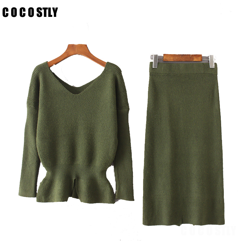 High Quality 2018 Winter 2 Piece Set Women Suits Tracksuit V neck Sweater Top + Pencil Skirt Suit Female Knitting Office Wear