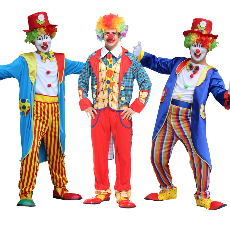 Holiday Variety Funny Clown Costumes Christmas Adult Woman Man Joker Costume Cosplay Party Dress Up Clown Suit Costume