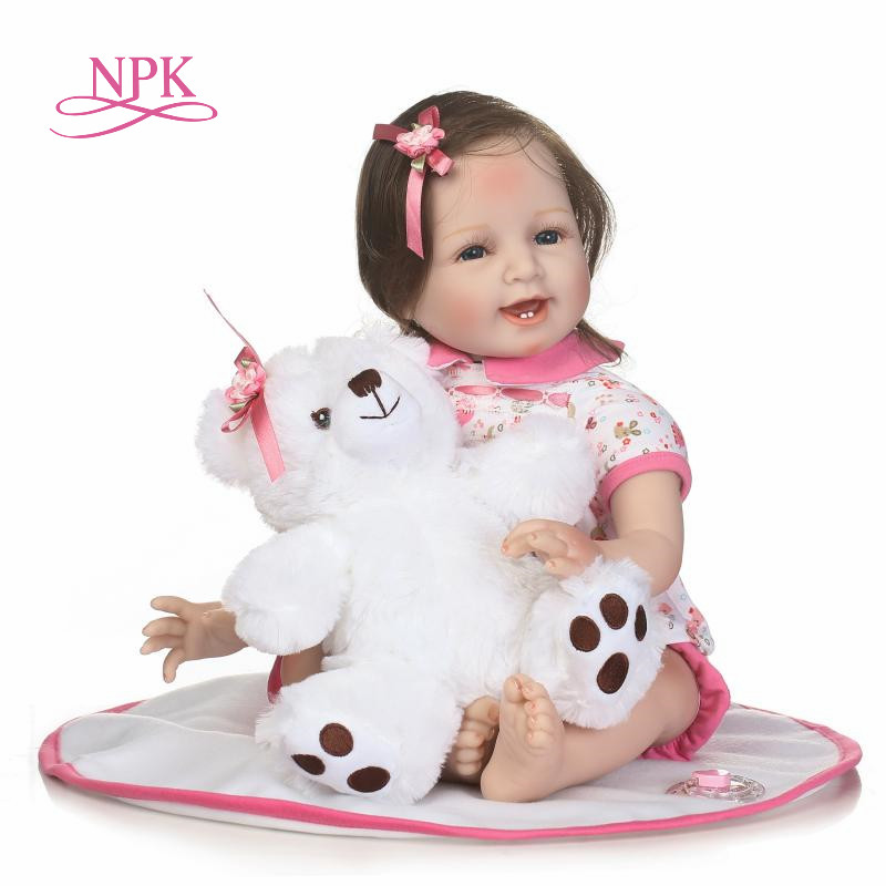 NPK 55cm soft Silicone Reborn Girl Baby Doll Toys 22inch Newborn Princess Toddler Babies Dolls Toys for girl Play House Toy Doll цена
