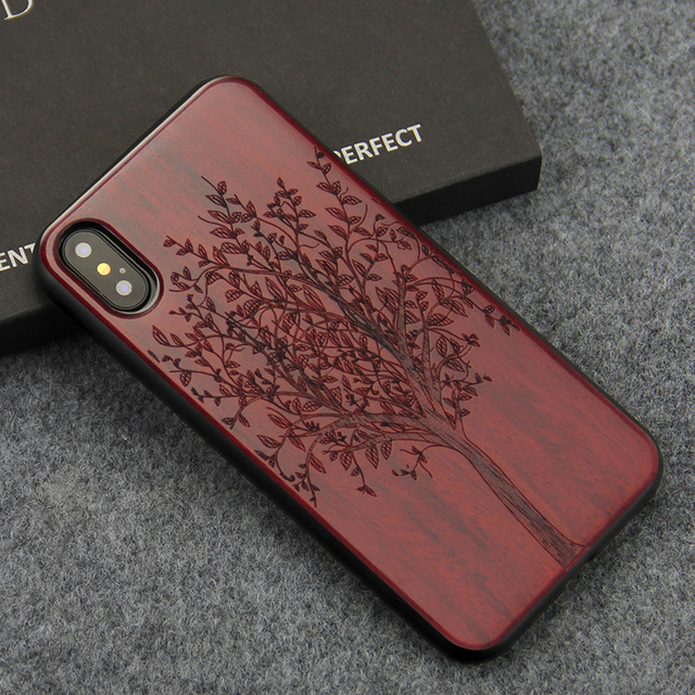 the latest fc3b3 b73ac Narural Wooden Phone Case For iPhone X XS Max Real Wood Engraving  Protective Back Cover for Apple iPhone XS XR Cases Coque