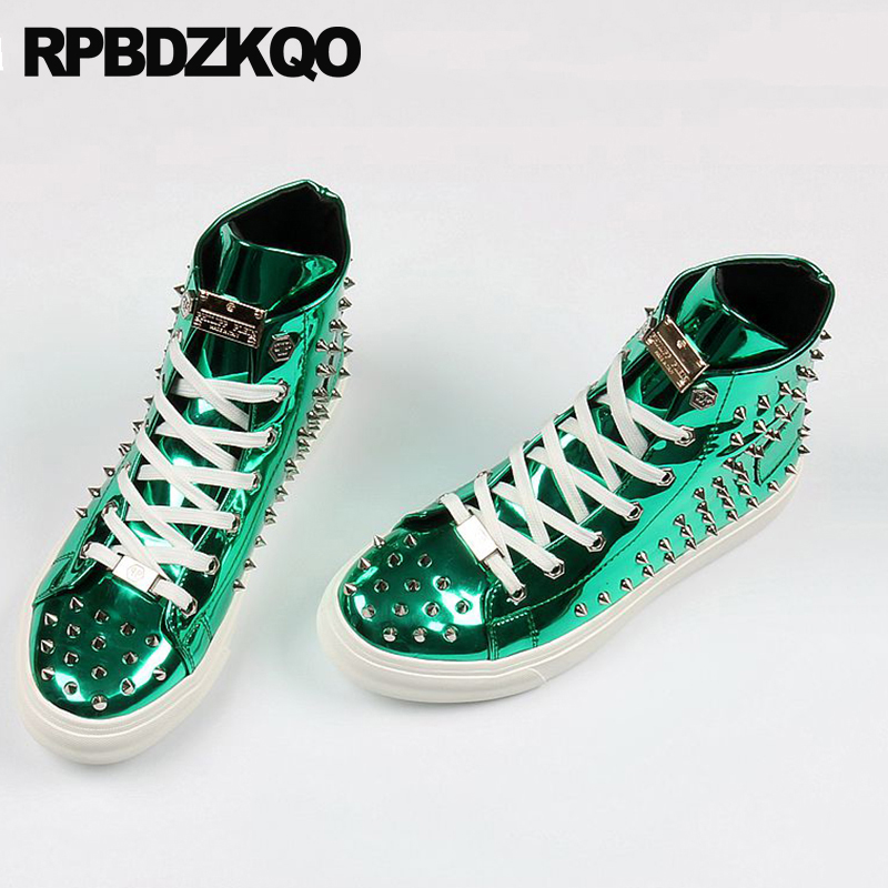 Rivet Men Shoes Italy Brand Skate Hip Hop Sneakers Elevator Stud Trainers  Dandelion High Top Green Spike Lace Up Creepers Runway 2d0dcc1c1de9